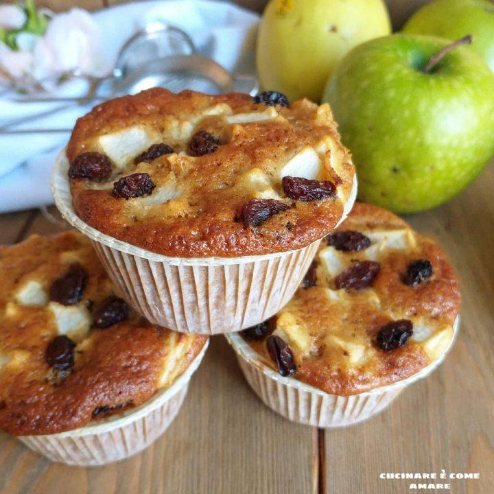 muffin dolce mela e uvetta impasto integrale