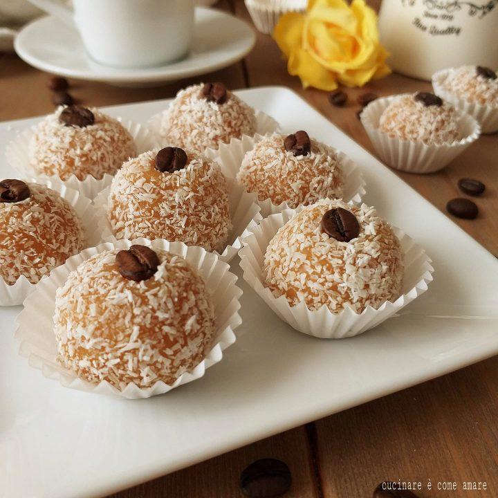 dolce tartufo cocco e caffe' ricetta senza cottura