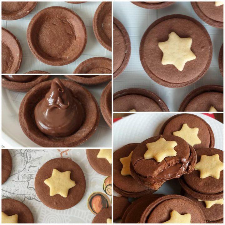 impasto biscotto crostatina di natale ripieno nutella