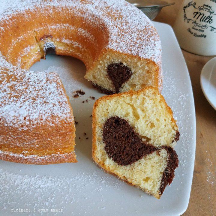 torta ciambella paradiso cuore di cacao dolce soffice