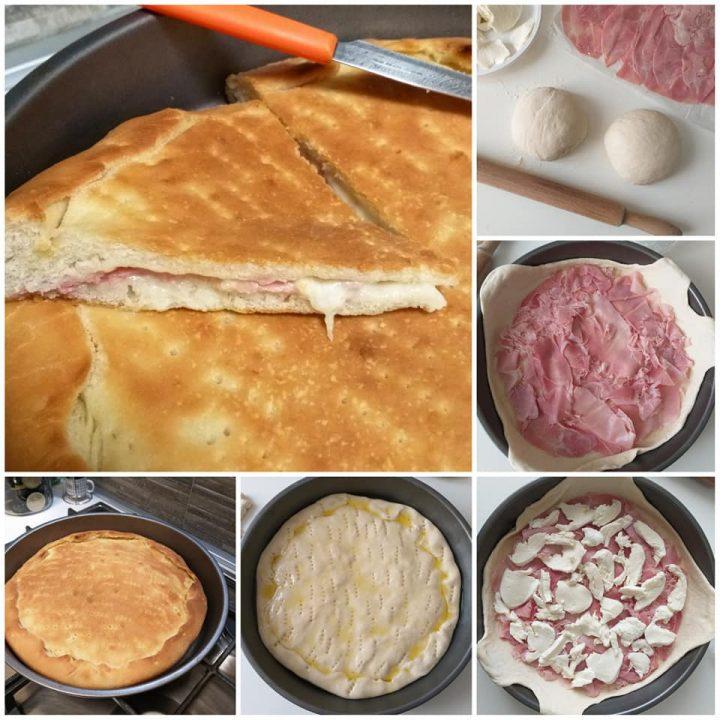 impasto passo passo pizza ripiena con prosciutto e mozzarella