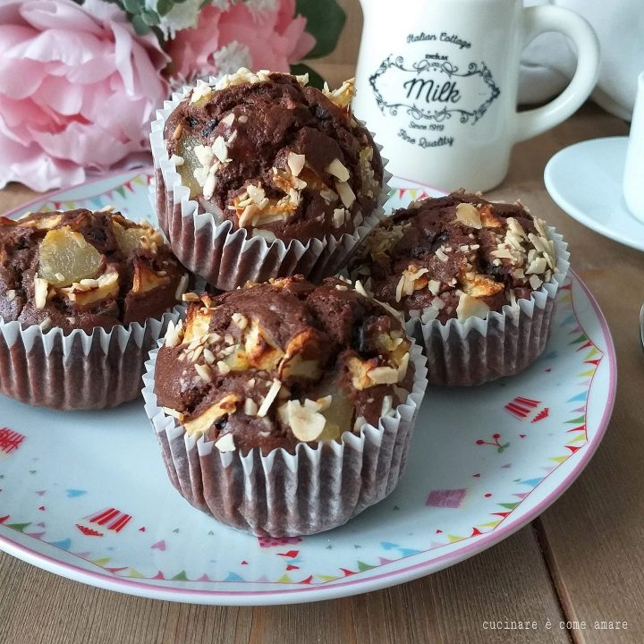 muffin tortina cioccolato e pere dolce soffice