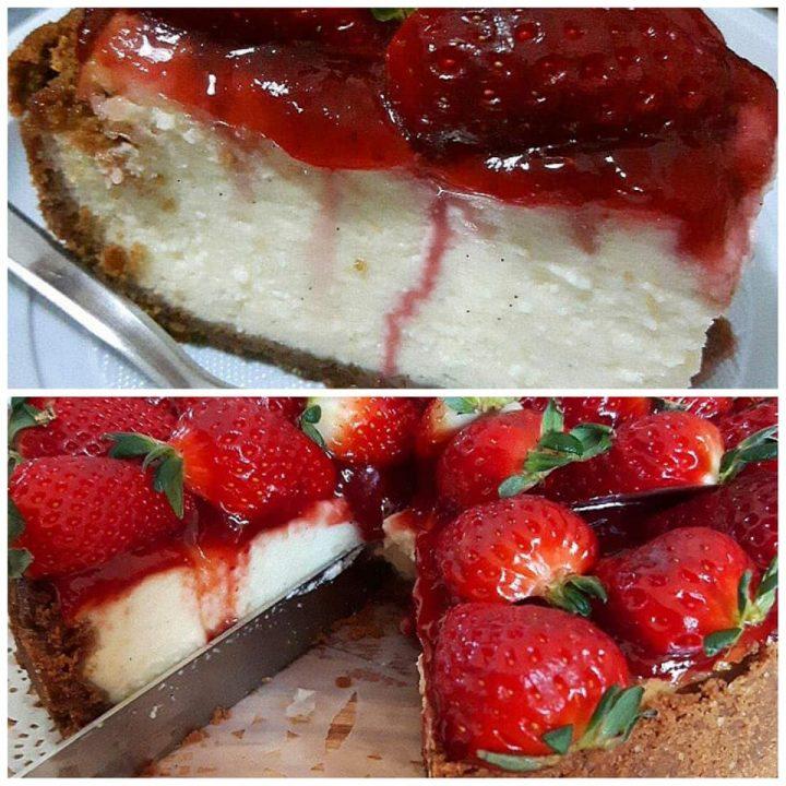torta cheesecake cotta alla ricotta dolce cremoso con fragole