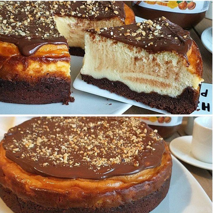 torta cheesecake stragolosa alla nutella dolce con ricotta