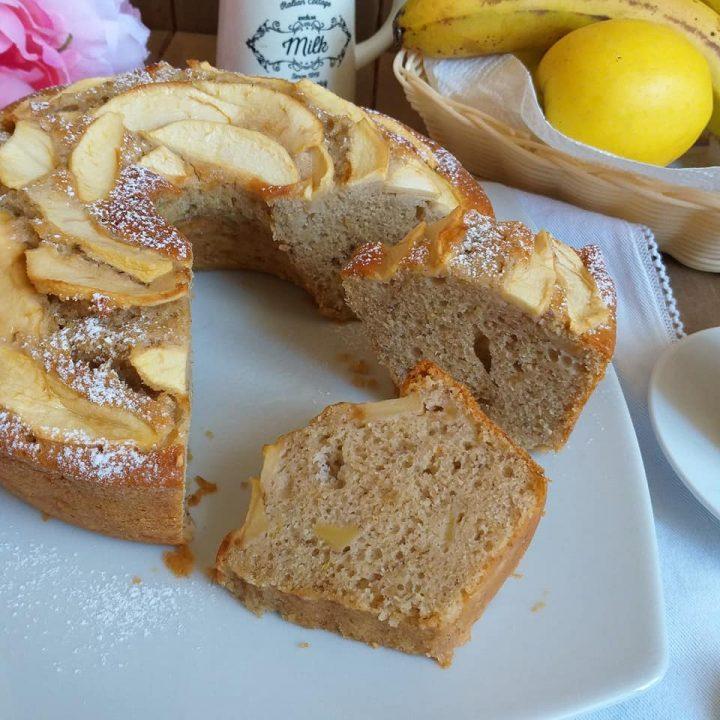 torta ciambella mela e banana dolce soffice senza burro