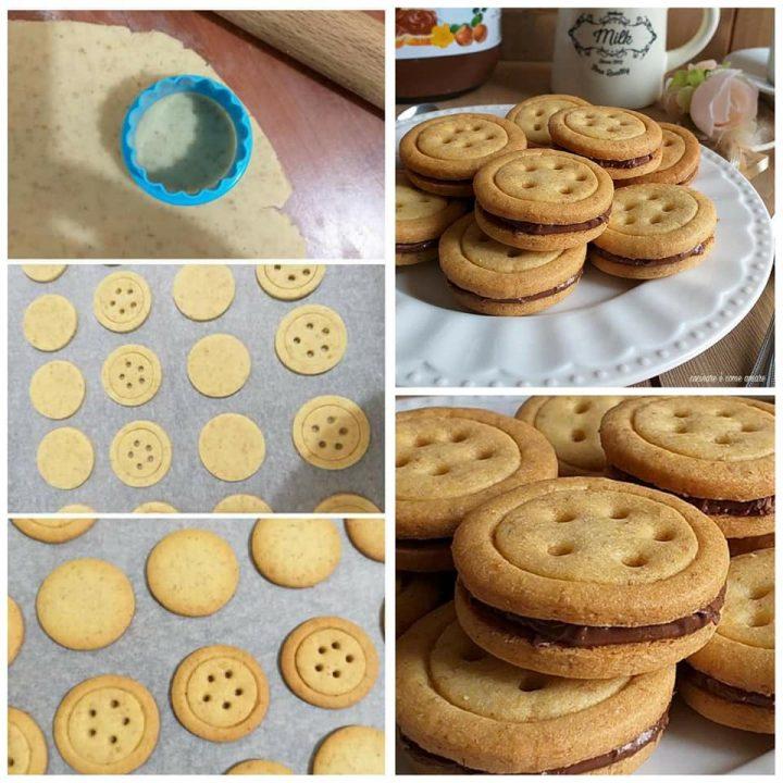 biscotti tipo baiocchi con nocciole e nutella