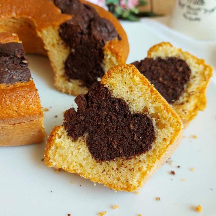 ciambella cuore cioccolato e cocco dolce soffice