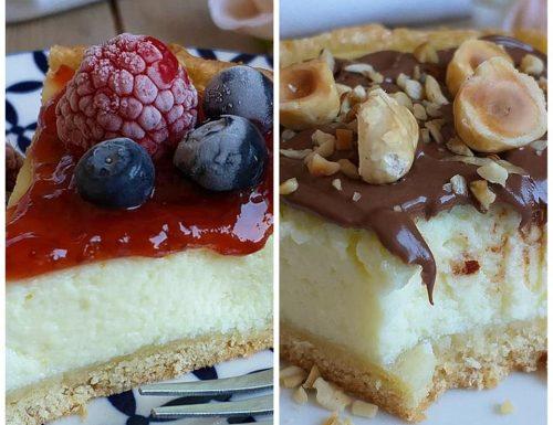 CROSTATA CHEESECAKE NUTELLA O FRUTTI ROSSI dolce ripieno ricotta