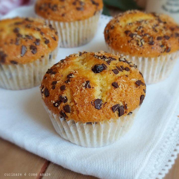 muffin soffice cocco e cioccolato dolce senza burro