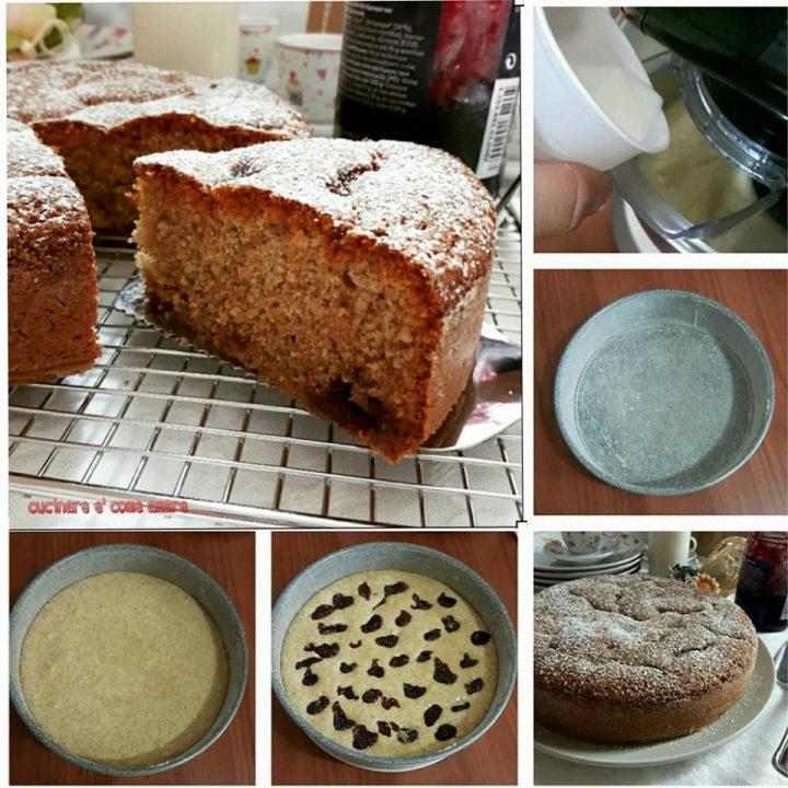 torta soffice integrale con marmellata dolce ripieno