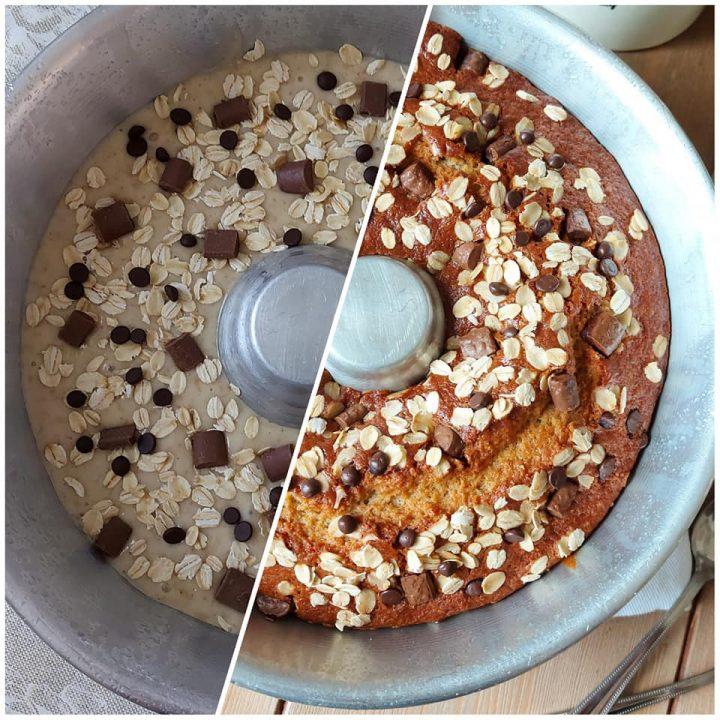 ciambella cookies avena e cioccolato dolce senza burro
