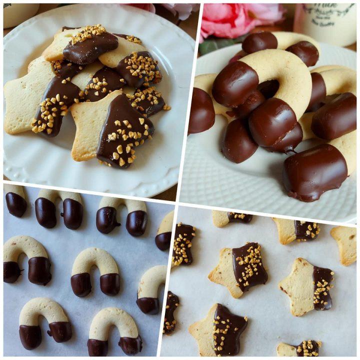 biscotti pasticceria al burro con glassa cioccolato