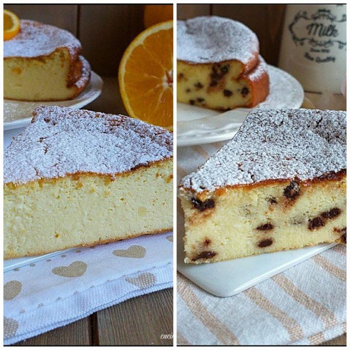 torta cremosa di ricotta semplice o con cioccolato