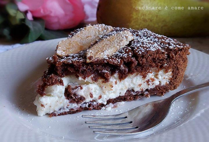 crostata favola al cacao dolce ripieno mascarpone e pere
