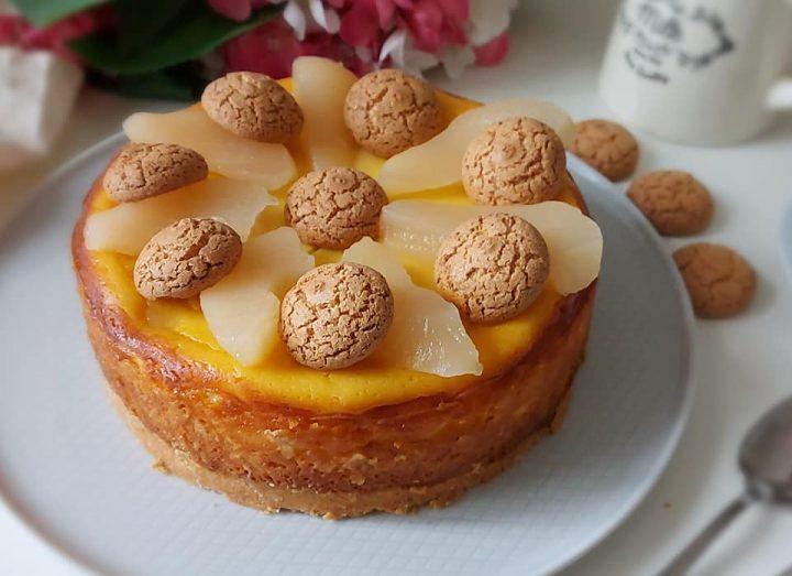 cheesecake pera e amaretti dolce cremoso con ricotta