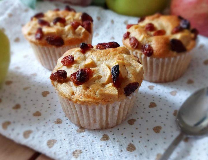muffin nuvola mela e uvetta dolce senza burro