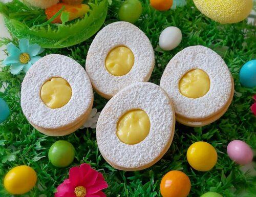 BISCOTTI FROLLINI OVETTE DI PASQUA dolce ripieno crema pasticcera