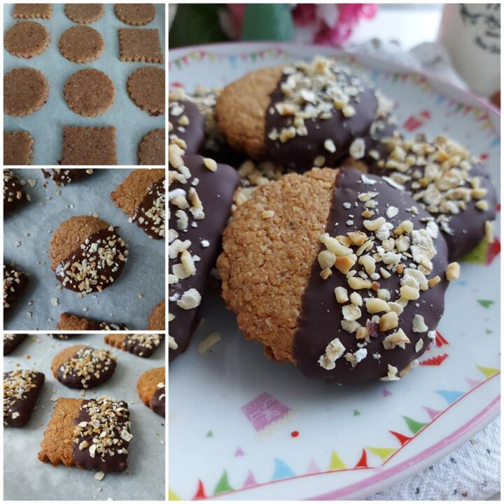 impasto biscotti nocciole e avena dolce con glassa