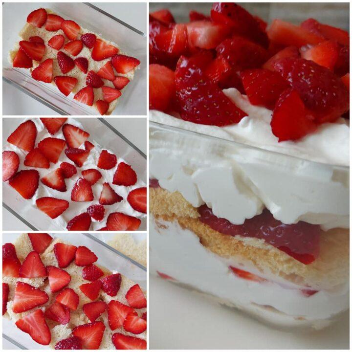 impasto goloso per tiramisu' con crema yogurt e fragole dolce facile