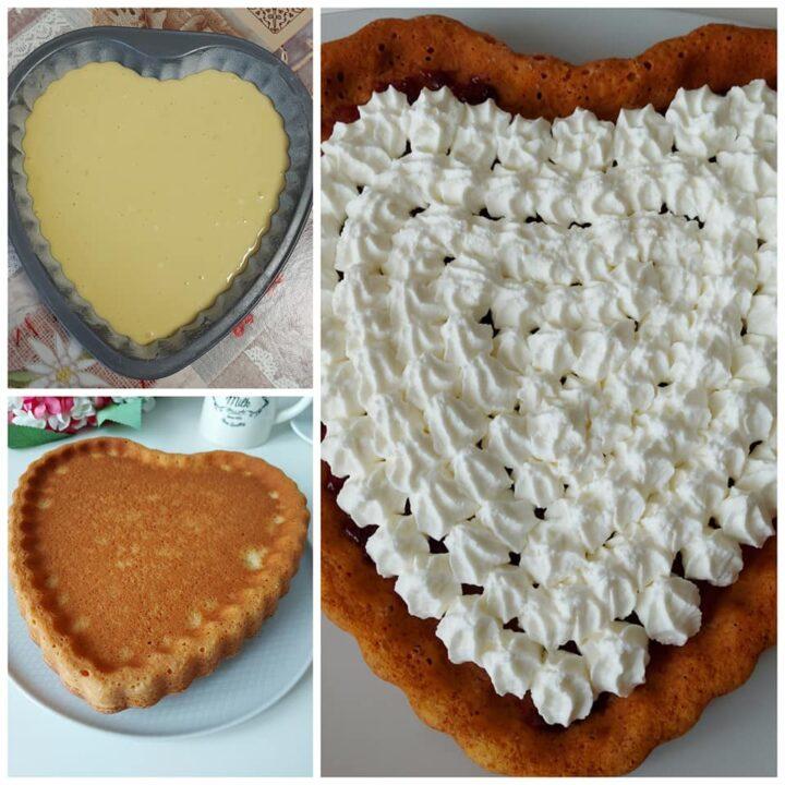 torta cuore soffice con panna dolce facile e goloso