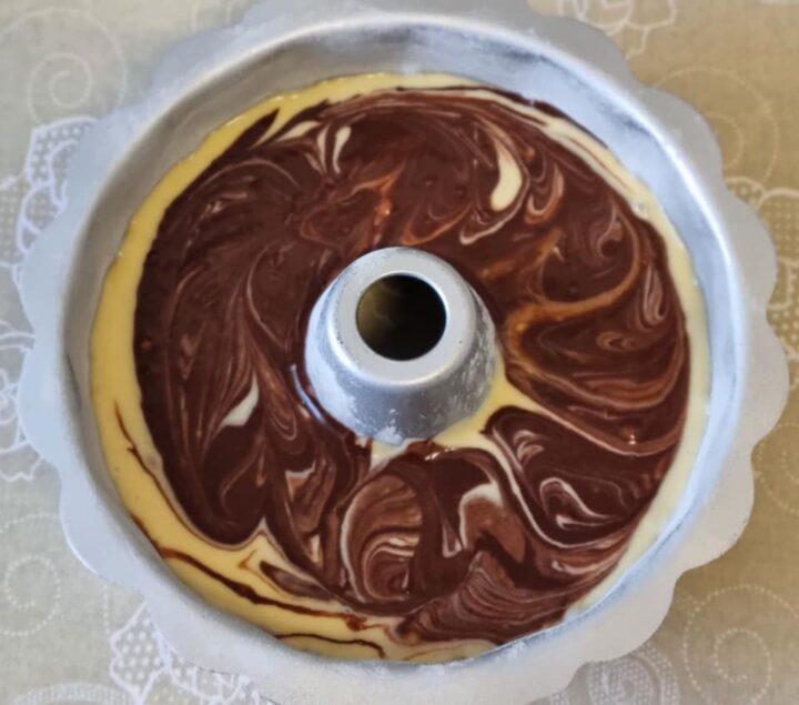 impasto per ciambella variegata con cacao dolce senza burro