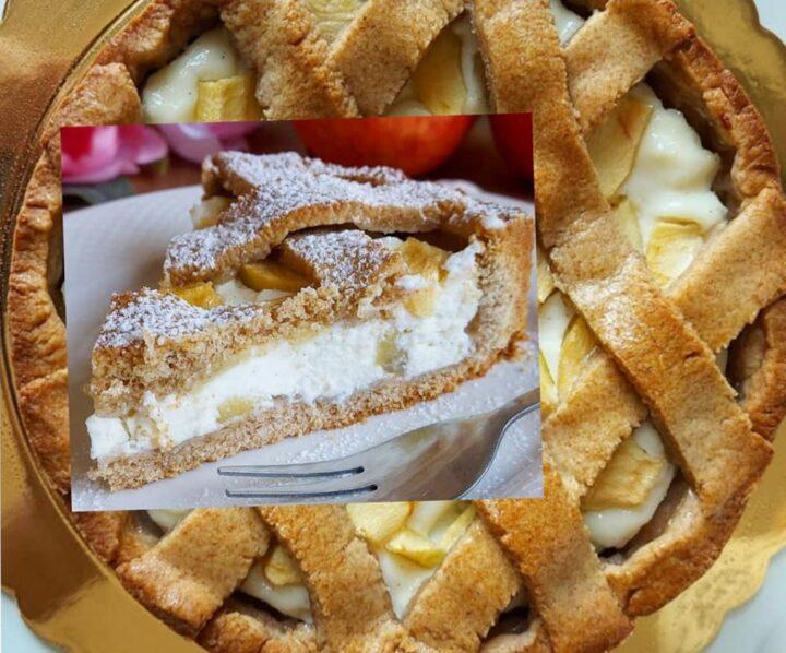 crostata favola alle nocciole dolce ripieno mascarpone e mele