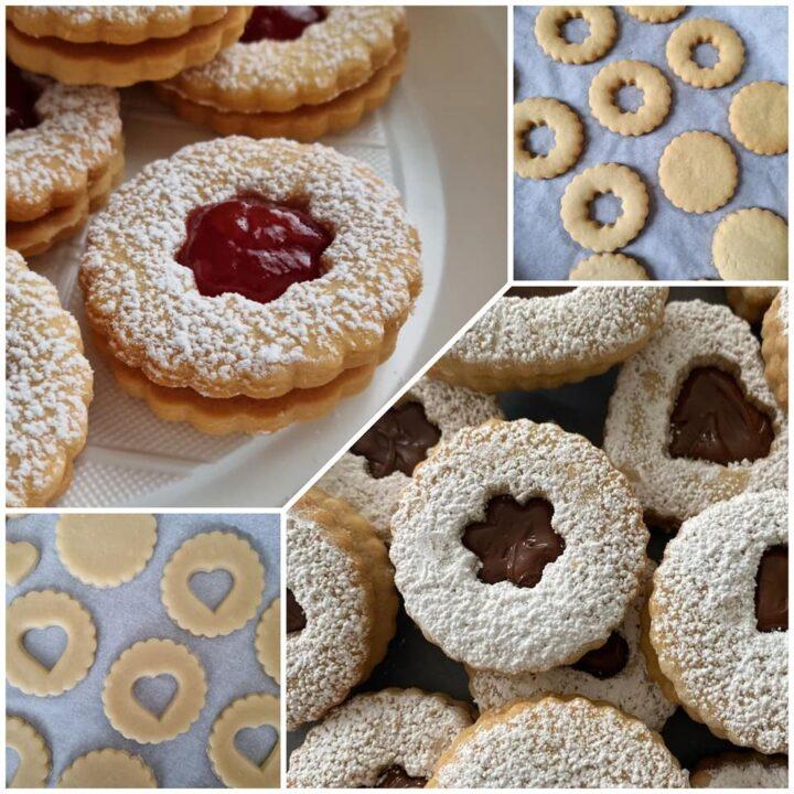 impasto biscotti frollini da pasticceria dolce ripieno nutella e marmellata