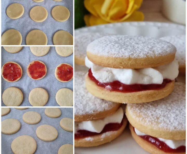 impasto facile biscotti paradiso dolce ripieno marmellata e crema yogurt