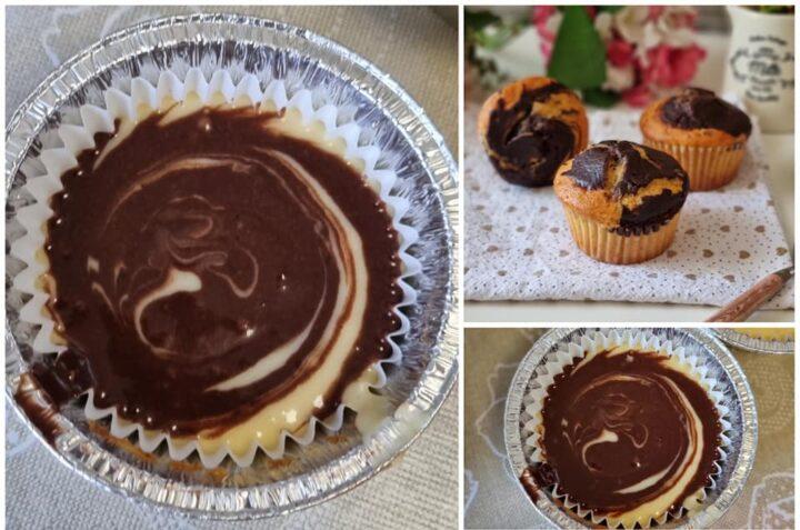 impasto per muffin variegati con cacao dolce senza burro