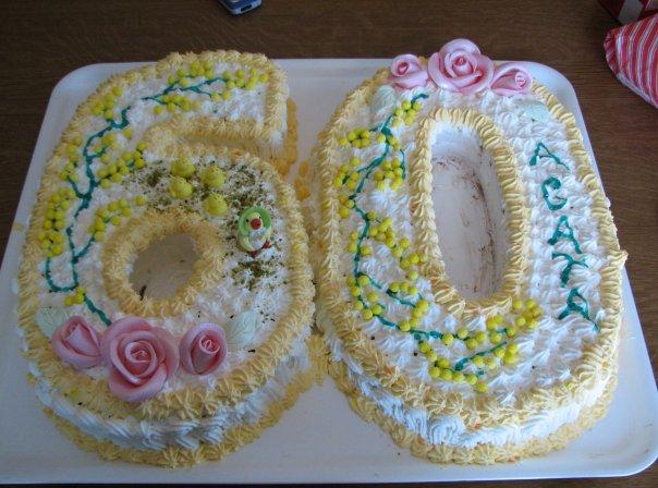 Torta Compleanno 60.Torta Numero 60 Con Semplice Classico Pan Di Spagna E Crema