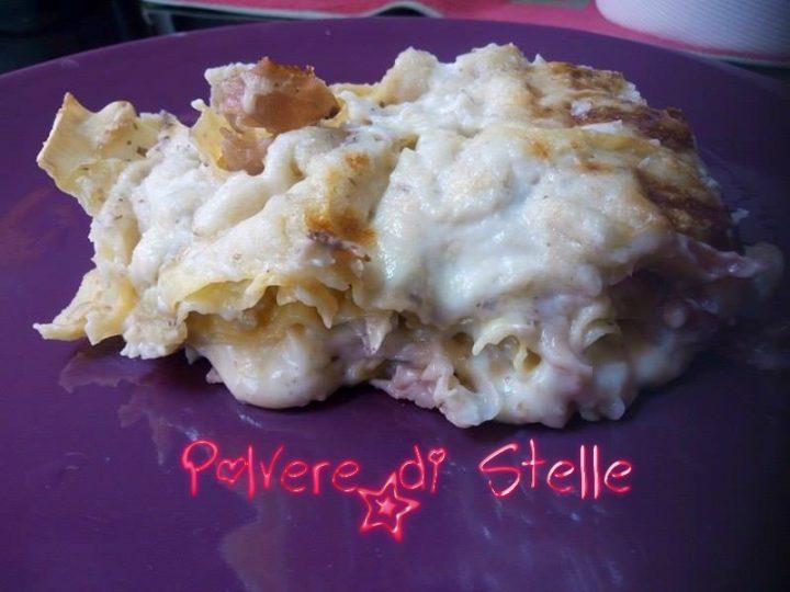 lasagne ai funghi e speck con granella di noci