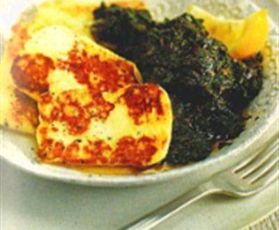 Spinaci e formaggio grigliato