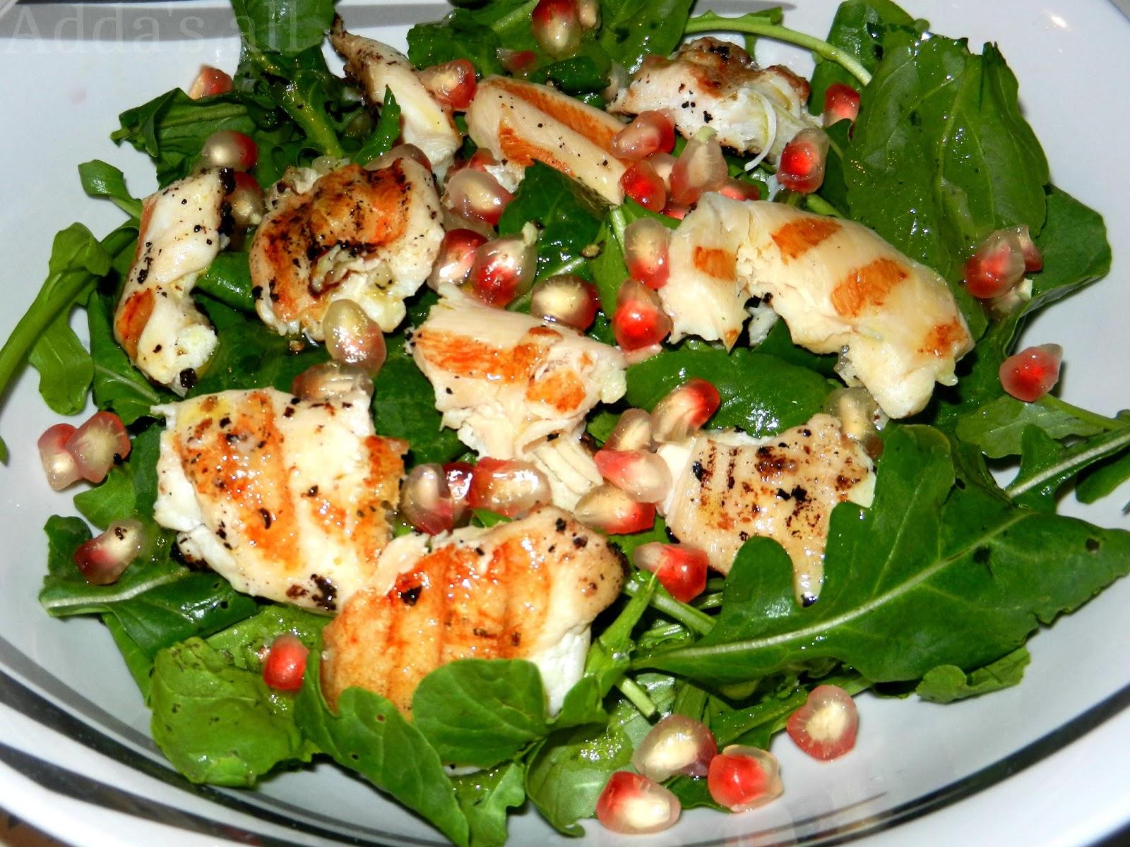 insalata di pollo,rucola e melograno