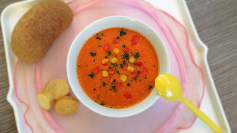 Zuppa fredda estiva mais e patate