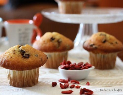 Muffin soffici con ricotta, cioccolato e bacche di Goji