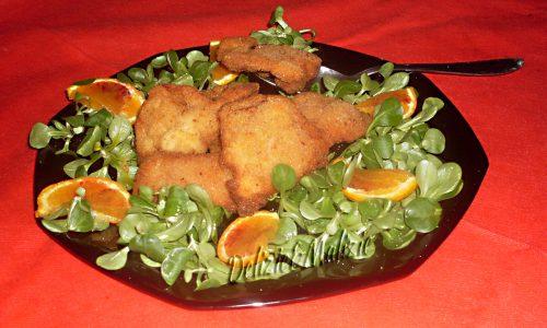 Bouquè di soncino con cotolette di tacchino all'arancia