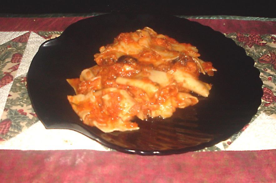 Lasagnette di ceci al ragù di baccalà