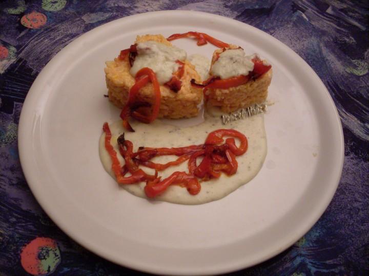 Risotto in bellavista con peperoni grigliati e gorgonzola