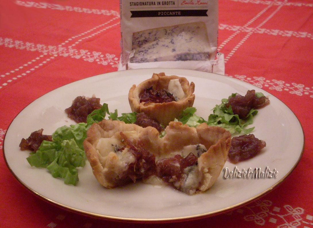 cestini al marsala con gorgonzola e cipolle caramellate