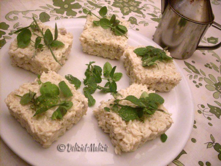 Mattonelle di riso e crema di porcini
