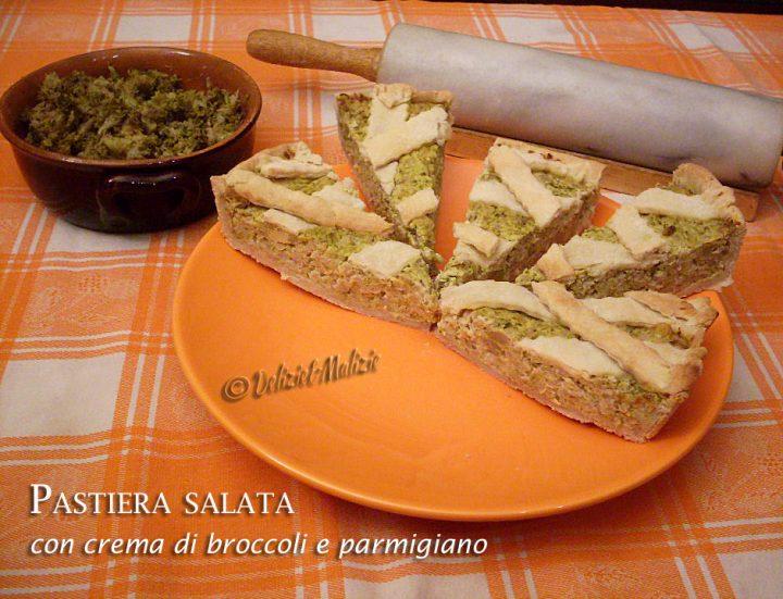 Pastiera salata rustica con crema di broccoli e parmigiano