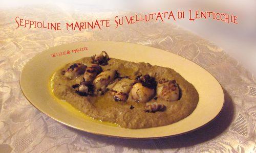 Seppioline marinate su vellutata di lenticchie
