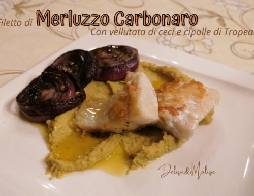 Filetto di Merluzzo carbonaro con vellutata di ceci e cipolla di Tropea