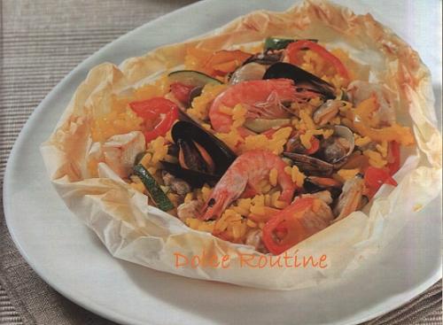 Paella Al Cartoccio Con Carne E Pesce