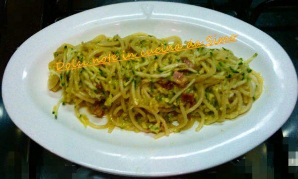 Spaghetti al pesto di zucchine e pancetta