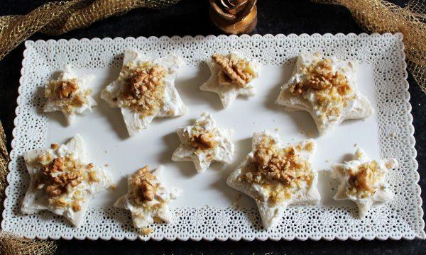 Tramezzini stella alla crema di gorgonzola e noci