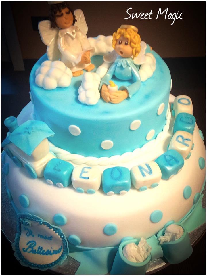 Super Torta Battesimo e Cup Cakes in Pasta di Zucchero KG92