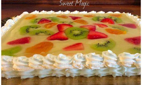 Torta Quadro con crema e frutta