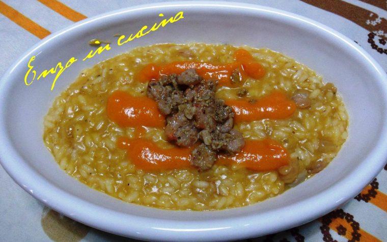 Risotto con vellutata di zucca e gamberetti in salsa di pistacchi