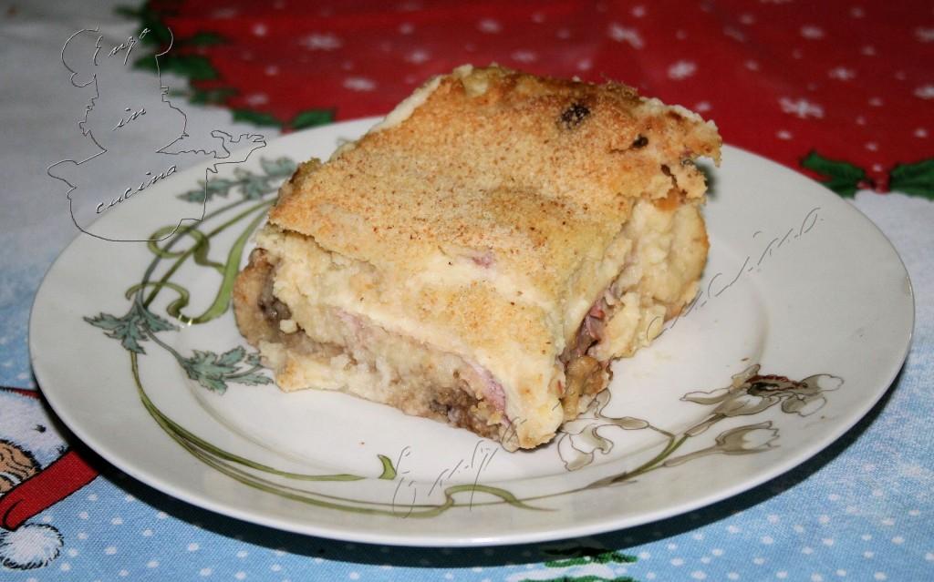Gâteau con prosciutto scamorza e melenzane